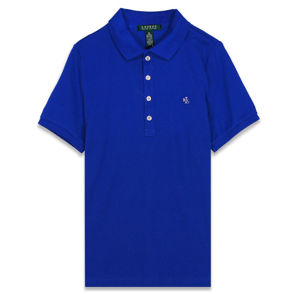 Ralph Lauren 小RL標透氣棉質素面POLO女杉(寶藍)