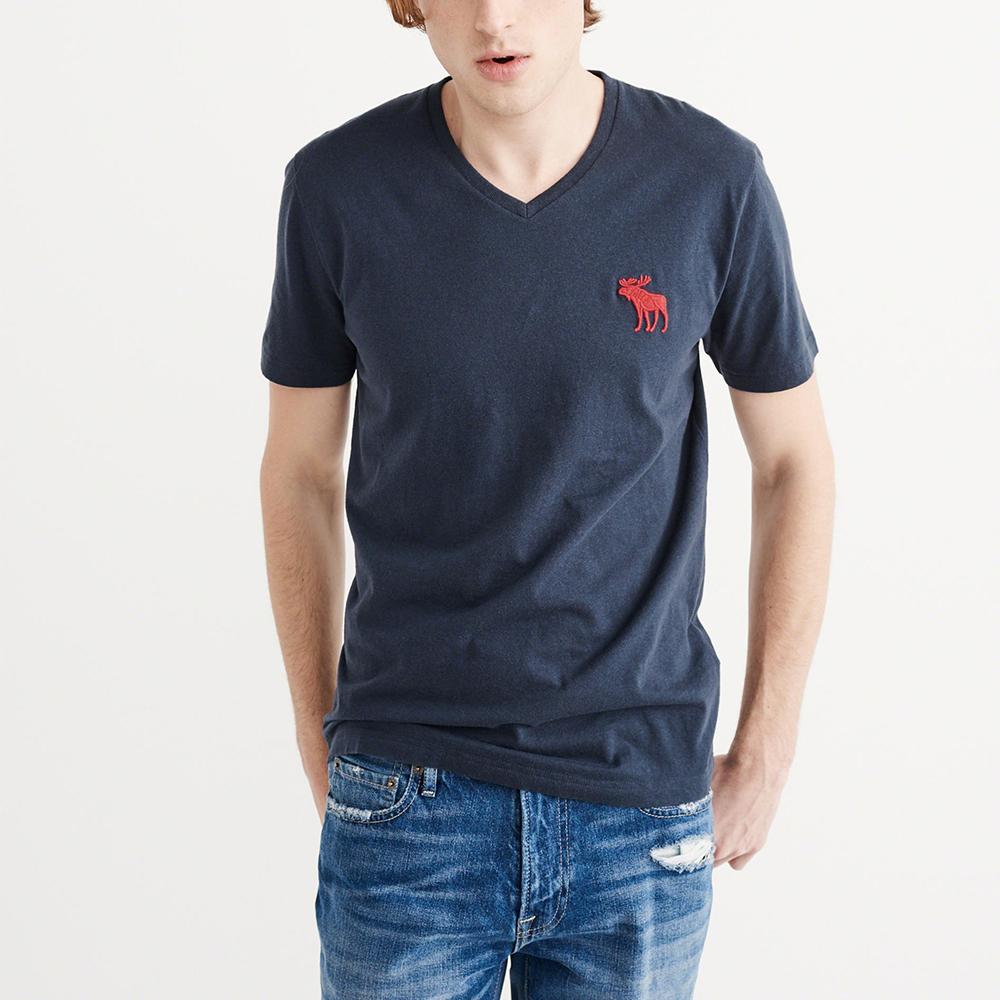 A&F 經典刺繡大麋鹿V領素色短袖T恤-深藍色 AF Abercrombie