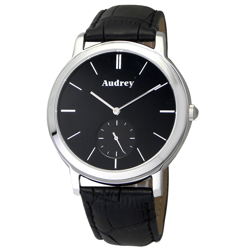 Audrey 歐德利 學院風格 小秒圈時尚腕錶(AUM5653)-黑/40mm