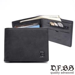DF BAGSCHOOL皮夾 - 極簡態度水洗仿皮革款薄型男用短夾-共2色