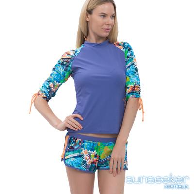 澳洲Sunseeker泳裝配品牛仔花朵雙層運動泳褲