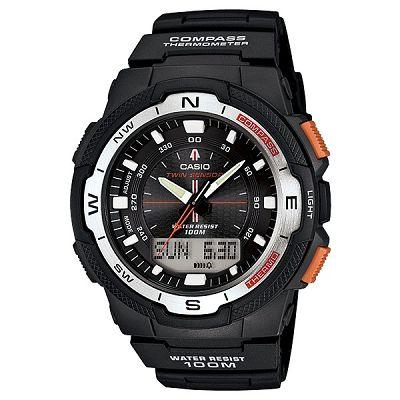 CASIO 輕巧登山王者風範戶外 雙顯錶~白框 45mm