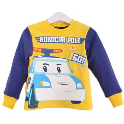 POLI波力厚磅暖絨長袖T恤 黃藍 k60312