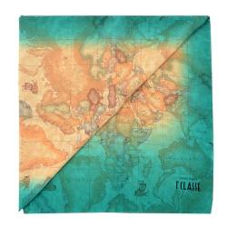 Alviero Martini 義大利地圖 地圖渲染絲巾-藍綠/地圖黃 (45X180)