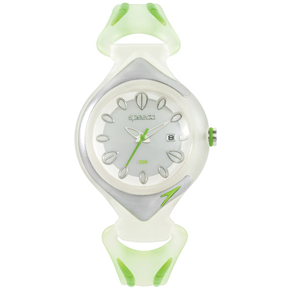 Speedo 漫步雨中休閒腕錶-白x綠/33mm