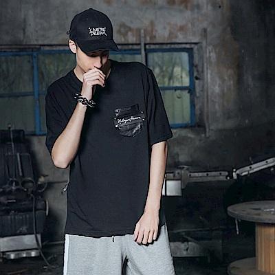 DADA-SUPREME-皮革口袋短袖上衣-男-黑