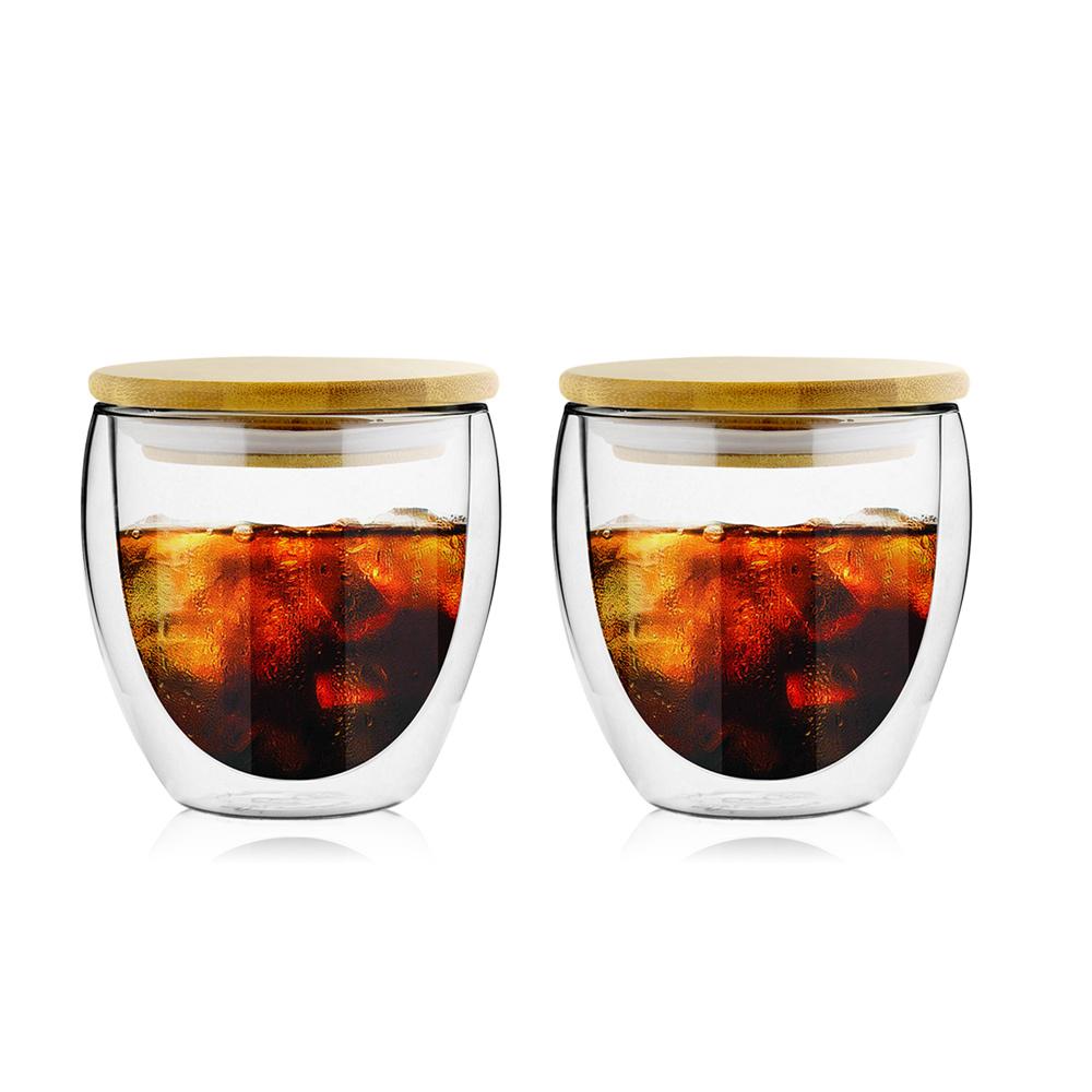 FUSHIMA富島 雙層耐熱玻璃杯260ML(附專屬竹蓋)*2入