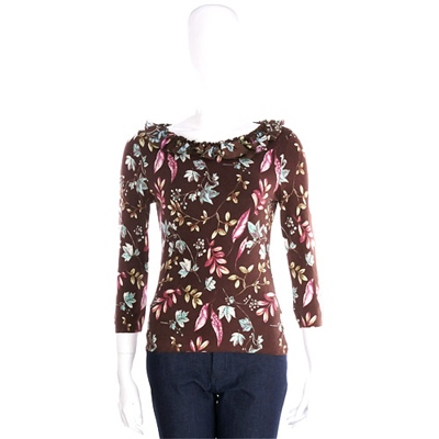 BLUGIRL 咖啡色花卉七分袖上衣(85%WOOL)