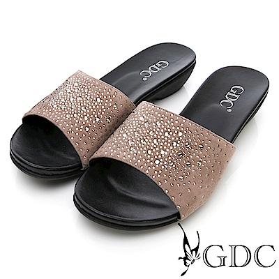 GDC-真皮水鑽典雅平底拖鞋-豆沙色