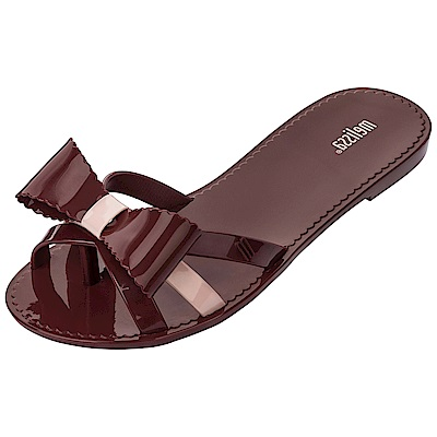 Melissa 交叉帶蝴蝶結夾腳鞋-酒紅