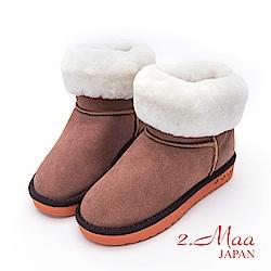 2.Maa-個性撞色牛麂皮反折暖暖雲朵雪靴-棕