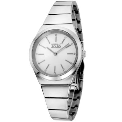NATURALLY JOJO 晶鑽立體時標氣質腕錶-白色/銀色-34mm