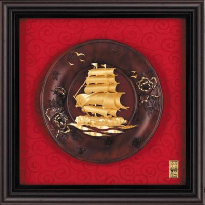 雅鑑鑫品金箔畫 圓盤系列(小)船 一帆風順-23x23cm