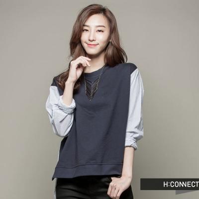 H-CONNECT-韓國品牌-女裝-條紋拼接棉質上衣-藍