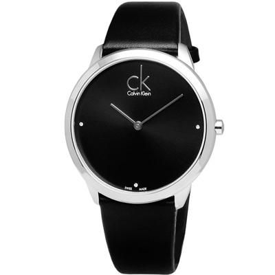 cK Minimal 都會魅力真鑽皮革腕錶-黑/40mm
