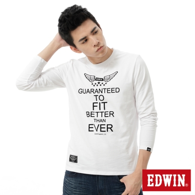 EDWIN-T恤-滿版植絨印花T恤-男-白色