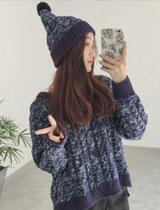 寬鬆麻花針織毛衣+帽子