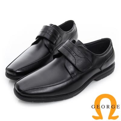 GEORGE 喬治-超輕量魔鬼沾柔軟真皮紳士鞋-黑色