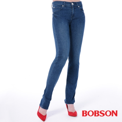 BOBSON   女款膠原蛋白直筒美肌褲-深藍