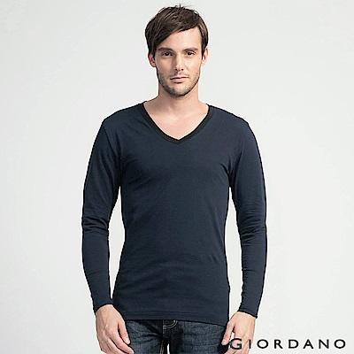 GIORDANO 男裝G-Warmer彈力舒適V領極暖衣 - 54 標誌黑/墨水藍