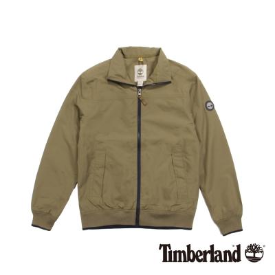 Timberland 男款軍綠色立領防水拉鍊外套