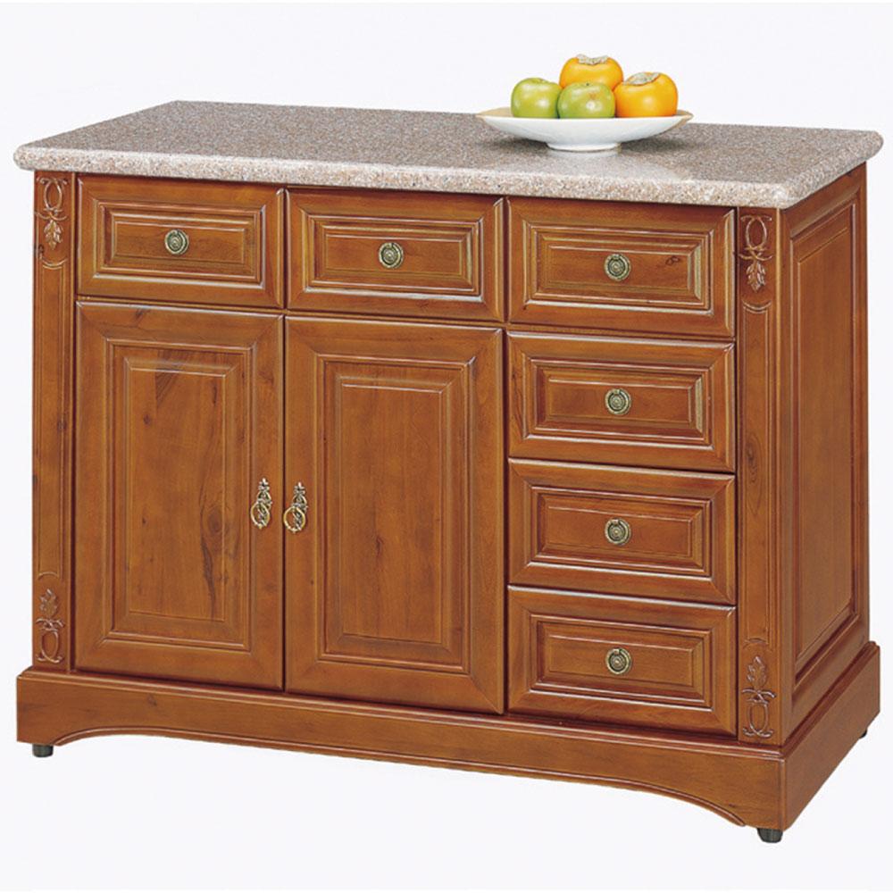 品家居 伯爵3.8尺實木石面餐櫃下座-114x48x87cm-免組