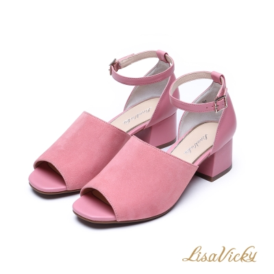 LisaVicky露趾魚口踝帶粗跟後包涼鞋-櫻花粉色