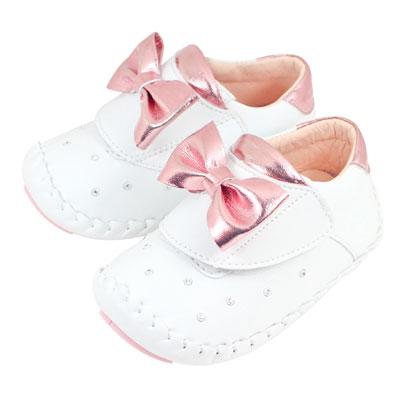 Swan天鵝童鞋-蝴蝶結閃耀水鑽翹頭學步鞋1525-白