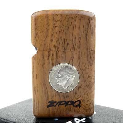【ZIPPO】日系~木殼包覆-10分美金硬幣鑲嵌打火機