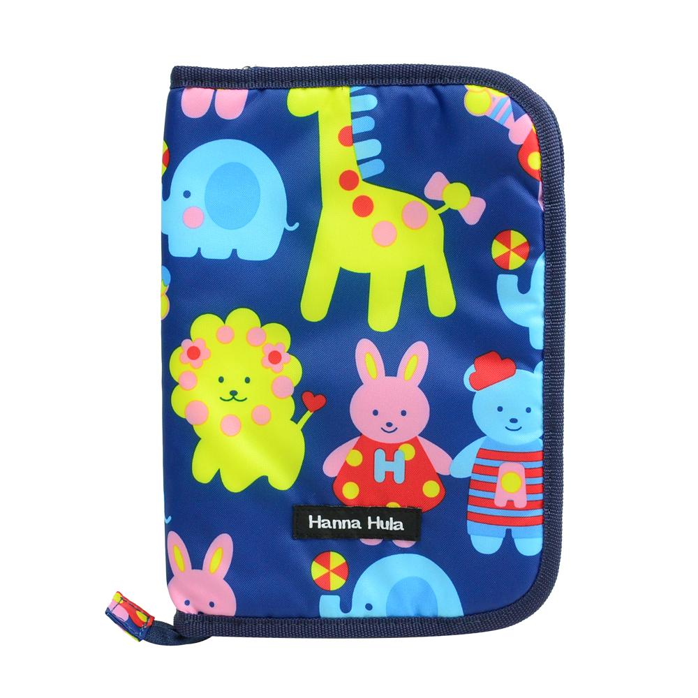 日本Hanna Hula-多用途手冊包-親子手冊/健保卡等(動物藍)