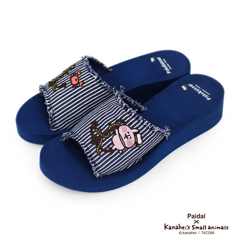 Paidal x 卡娜赫拉的小動物 - 海軍條紋厚底拖鞋