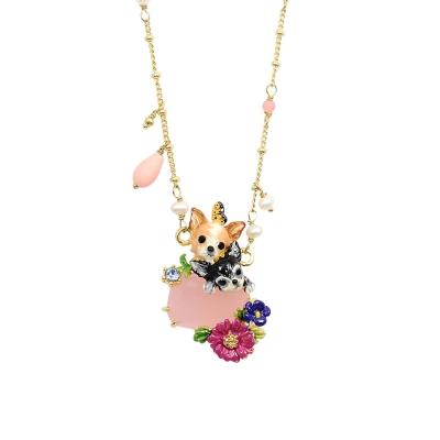 Les Nereides 吉娃娃系列粉紅粉藍寶石花朵珍珠項鍊