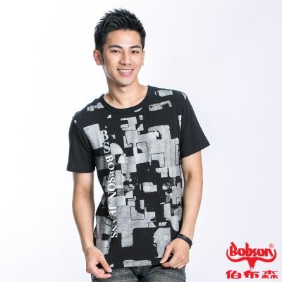 BOBSON 男款幾何印圖短袖上衣(黑22028-88)