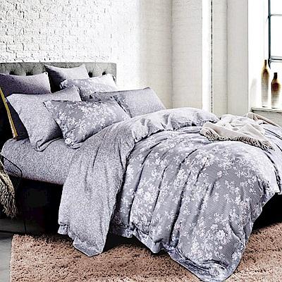 Ania Casa 天絲 TENCEL-特大鋪棉兩用被套床包四件組- 花研-灰