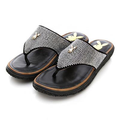 PLAYBOY輕奢時尚 滿版鑽飾厚底夾腳涼拖鞋-黑