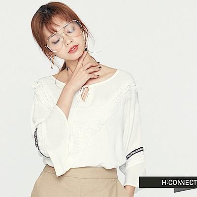 H:CONNECT 韓國品牌 女裝-前綁帶荷葉袖民族風上衣-白