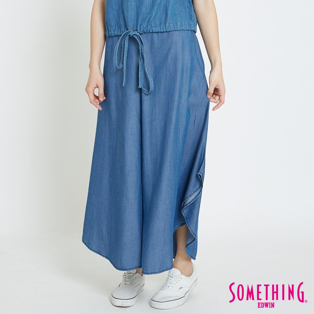 SOMETHING 天絲®海芋型闊腿褲-女-漂淺藍