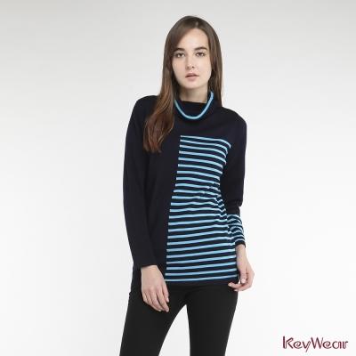 KeyWear奇威名品-高級羊毛高領跳色配條長版毛衣