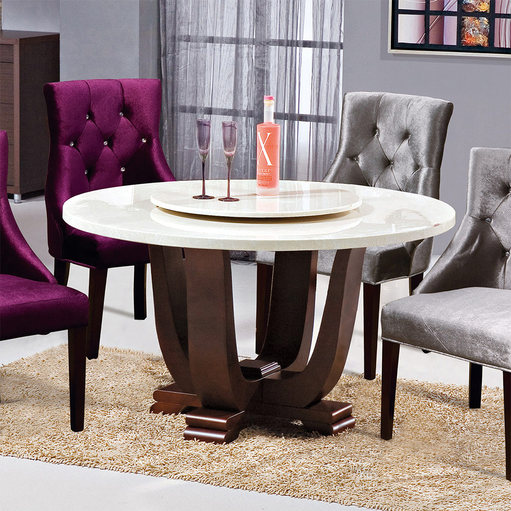 Bernice-維爾4.3尺石面圓型餐桌(附轉盤)