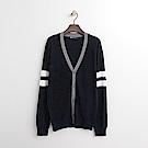 Hang Ten - 男裝 - 撞色線條針織外套-深藍色