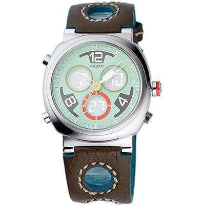VAGARY 玩色創意雙顯時尚腕錶-粉綠/38mm