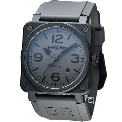 Bell & Ross 飛鷹戰士自動機械腕錶-灰/42mm