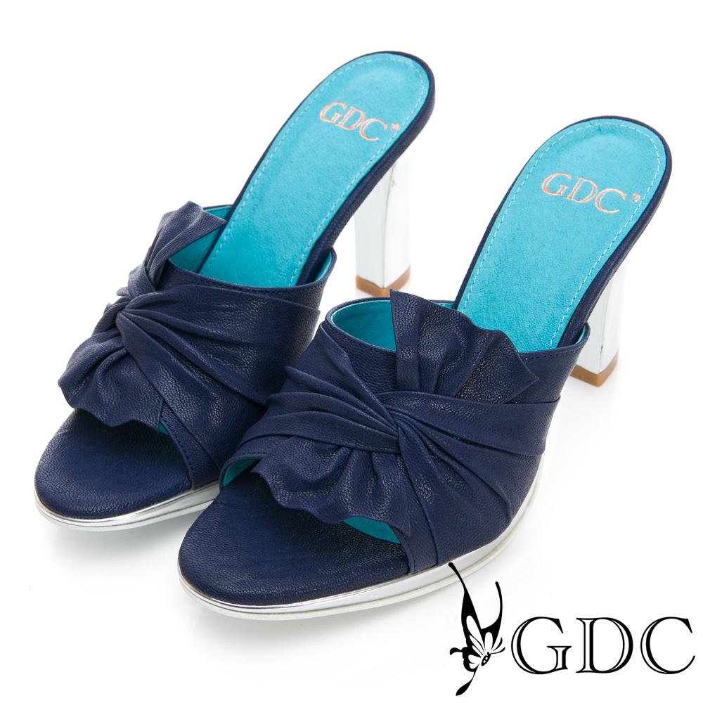GDC-真皮時尚扭結設計感粗跟拖鞋-藍色