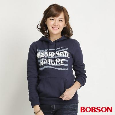 BOBSON 女款內刷毛印圖帽T(藍53)