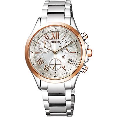 CITIZEN xC 光動能羅馬戀人計時腕錶(FB1404-51A)-銀x玫瑰金/32mm