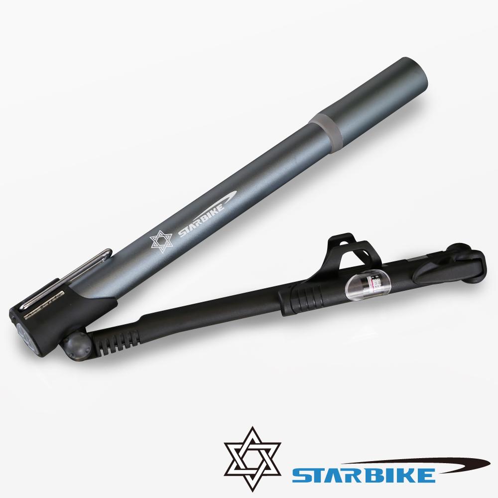 STARBIKE 折疊式踏板美法兩用隨身打氣筒(附氣壓表)