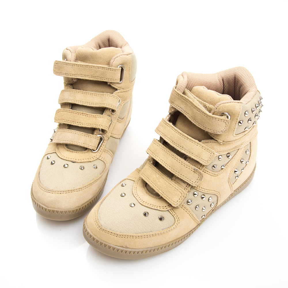 Camille's 韓國空運-正韓製-麂絨鉚釘內增高休閒鞋-駝色