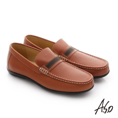 A.S.O 輕量抗震 苯染牛皮奈米包仔皮鞋 茶色