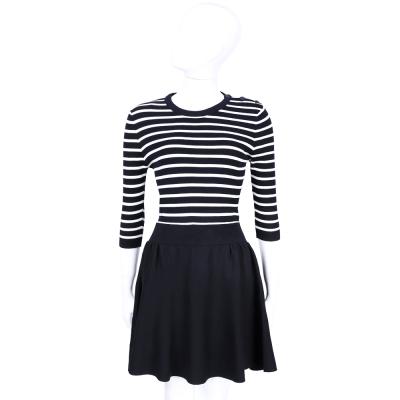 RED VALENTINO 深藍x白色條紋拼接七分袖洋裝