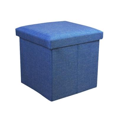 簡約麻布收納椅38x38x38cm(藍色)
